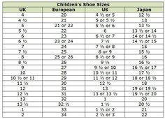 Kids Shoe Size Conversion Chart  Includes WomenS Shoe Size