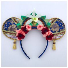 Handmade Mulan Princess Disney Inspired Minnie Mouse Ears Headband in Blue from . Disney Headbands, Mickey Mouse Ears Headband, Ear Headbands, Disney Minnie Mouse Ears, Diy Disney Ears, Disneyland Ears, Disney Diy Crafts, Disney Themed Outfits, Princess Disney