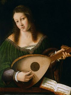 Bartolomeo Veneto and Workshop - Lady Playing a Lute [c.1530]  Once thought to be a portrait by Leonardo da Vinci, this painting is now associated with Bartolomeo Veneto (Italian, active 1502 - died Turin, 1531).   Oil on panel, 22 x 16.25 inches