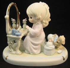 Precious Moments God's Love Is Reflected In You Girl at Vanity and Mirror 175277