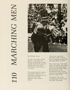 "Athena yearbook, 1973. ""110 Marching Men: The crowd goes wild with cheers, screams, and toasts while the marching band pours onto the field"". :: Ohio University Archives"