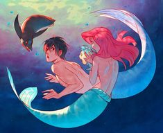 the little mermaid kyoto animation disney nanase haruka (free! Mermaid Artwork, Mermaid Drawings, Disney Drawings, Disney Kunst, Arte Disney, Disney Art, Disney And Dreamworks, Disney Pixar, Disney Characters