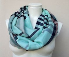 Infinity Plaid Scarf Mint  Loop Circle Scarf Fall by atohumcu, $16.99