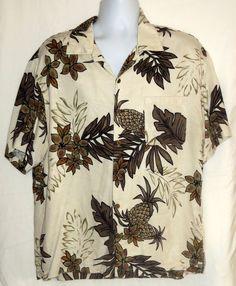Havana Jacks Cafe Hawaiian Shirt Rayon Pineapple Leaves  Flowers Brown Cream XL #HavanaJacksCafe #Hawaiian