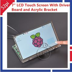 52Pi 7 inch TFT LCD 1024*600 Touch Screen + Driver Board HDMI VGA 2A for Raspberry Pi with Transparent Clear Acrylic Bracket