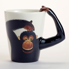 Monkey Mug | World Market >> Aaah, this is so fun!