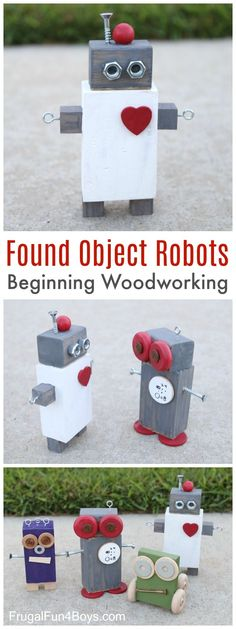 The boys and I had a blast this week creating these adorable wood robots!  This is a great beginning woodworking project for kids because exact measurement is not important, you can use glue instead of nails, and you can use whatever scrap wood and materials you have on hand. And it's FUN!  Total win. We started with pieces of wood cut to all random sizes.  I had a couple of boards of various sizes, and Aidan used our power saw to cut them into chunks.  If you don't have a power saw, ...