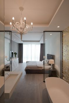 Stunning luxury interior design ideas from modern boutique hotels. Lobby, bedroom, stairways and entryways, a room by room guide to finding inspiration with the best interior architecture from world renowned hotels. Bedroom With Bath, Home Bedroom, Bedroom Decor, Open Plan Bathrooms, Open Bathroom, Hotel Lobby Design, Small Space Interior Design, Luxury Interior Design, Interior Architecture