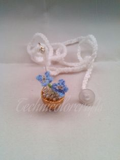 Miniature Crochet Blue Flower Necklace