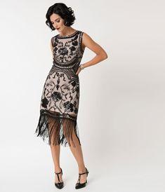 8f52d358521c3 1920s Style Blush Pink   Black Sequin Isabeau Cocktail Dress