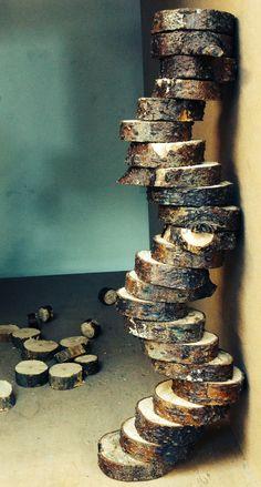 Tree bark discs stack Land Art  Alex Birchall