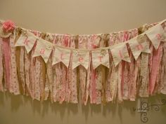 NEW Long Shabby Burlap Lace Pink Wedding/Torn Fabric Rag Garland /Bunting/Cottage/Banner/ Vintage Garland  /Engagement/ Baby /The Anna Grace