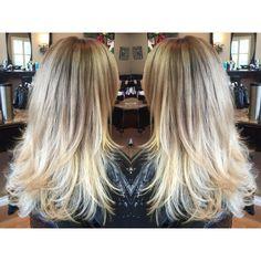 Blonde balayage on long straight hair