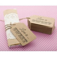 Hand Stamped Love is Sweet Wedding Favour Tags | Bomboniere | 50 Kraft Tags 7 x 4cm www.stylepartylove.com.au