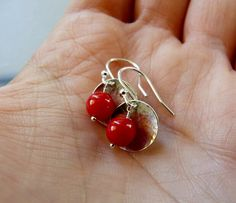 Red coral silver earrings Sterling silver disc dangles gift