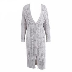 One Size Long Casual Cardigan - Gray