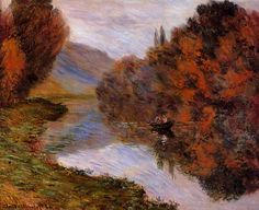 Rowboat on the Seine at Jeufosse 1884   Claude Monet   Oil Painting #impressionism
