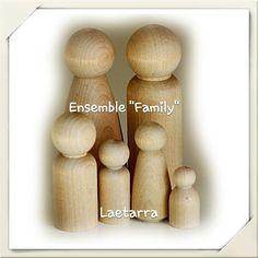 Figurines - personnages en bois pédagogie Waldorf - Poupée en bois brut : Déco, Bricolage Enfants par laetarra