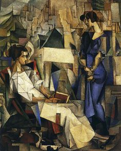 Portrait of Two Women (wife Angelina Beloff and friend Dolores Bastian), Diego Rivera Oil on canvas. The Arkansas Arts Center, Little Rock, Arkansas. In his first Cubist works. Diego Rivera, Frida And Diego, Mexican Artists, Wow Art, Art For Art Sake, Fine Art, Oeuvre D'art, Art History, Amazing Art