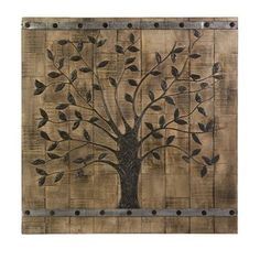 The wood panel combines the appeal of barn door styling with a contemporary tree image to create a wall panel that satisfies both traditional and modern tastes. Includes: One (1) of life wood wall pan