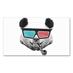 Vintage panda 3-D glasses Business Card #BusinessCard #Design #GraphicDesign
