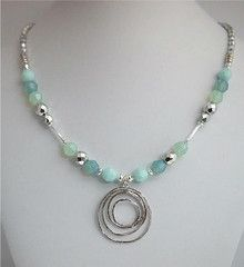 Faceted Swarovski Crystal and Czech Glass Necklace with Rhodium Focal and Argentium Sterling Silver Findings