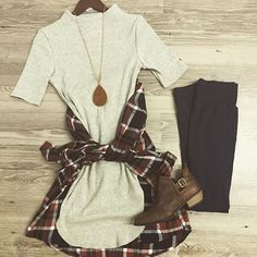 Oatmeal mock neck dress $30 Rust and navy #plaid $30 Booties $42-  Necklace $18- #ootd #style #fashion #new #fall #fashion