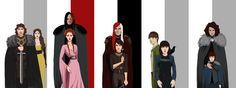 The Starks & their Lovers/Protectors: Robb & Jeyne, Sansa & the Hound, Arya & Jaqen, Bran & Jojen, and Rickon & Osha