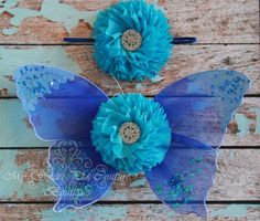 Ocean Blue Butterfly Wing Set Newborn Baby by MySweetPeaCouture