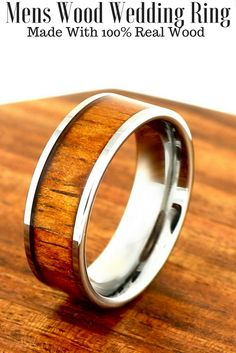 The Most Durable And Only Waterproof Mens Wood Wedding Rings These Bands Are Crafted Out Of Tungsten Carbide Top Unique