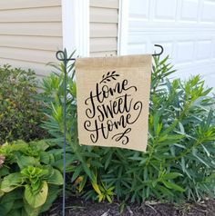 Burlap garden flag, burlap yard flag, welcome garden flag, garden flag, spring garden flag, home sweet home, welcome flag, welcome by SouthernAnchorShop on Etsy https://www.etsy.com/listing/512970736/burlap-garden-flag-burlap-yard-flag
