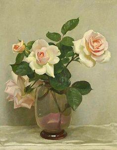 John Bulloch Souter (Scottish, 1890-1971) - Still Life of Pink Roses (20th century)