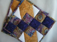 Purple Gold and White Quilted Potholders  Set by KraftyGrannysHome, $15.50