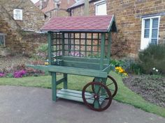 Our new produce cart made by members of our Fast Action Response Team Garden Cart, Garden Stand, Garden Projects, Wood Projects, Vegetable Stand, Produce Stand, Homestead Farm, Flower Cart, Fruit Stands