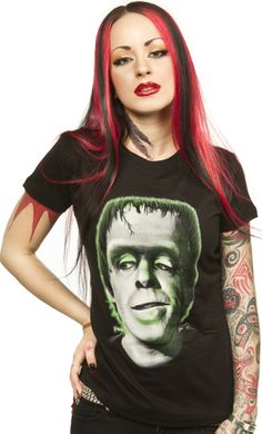 "HERMAN MUNSTER GIRLY TEE Here he is, the one and only Herman Munster! This girly tee from Universal & Rock Rebel features your favorite Munster, Herman, in the center printed in shades of gray, & green. 100% Cotton. Rock Rebel Size Chart S 32"" bust M 34"" bust L 36"" bust XL 38"" bust $25.00 #munsters #hermanmunster #horror #frankenstein #sourpussclothing #pinup #dolledup #pindress #bows #red #shoes #tattooedgirls"