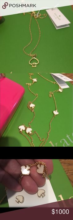 Coming Soon Kate Spade Pics for @kathy2020 of upcoming Kate Spade necklaces. Necklace with small spades are mother of pearl. See pic 3 to see the difference between the white enamel earrings and the real mother of pearl necklace. kate spade Jewelry