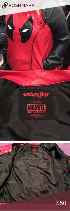 Marvel Dead pool biker jacket. Men / women  XXL Purchased at comic con. Cool fashionable Deadpool fall biker jacket. Used maybe once in excellent like new condition. Size XXL. 2XL Marvel Jackets & Coats