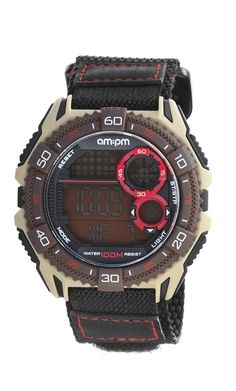 AM:PM PC166-G405 Men's Digital Sports Watch Brown & Red Black One-Piece Durable Nylon Strap