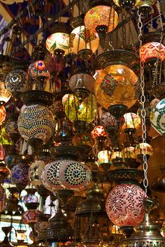 Image of 'Traditional turkish lamps on the market'