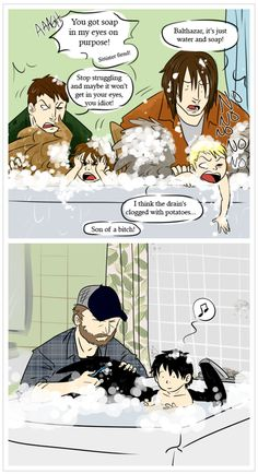 Bath time, Cas makes the perfect son and angel Gaah! It's so cute! <3 AHHHH MY HEART CUTENESS OVERLOAD