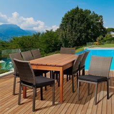 Lynwood 9 Piece Eucalyptus/Wicker Rectangular Patio Dining Set with Grey Cushions