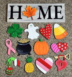 Interchangeable Home Sign Pieces Unfinished Wood Cutout Shapes Wood Crafts CutOut Home Interchangeable pieces Shapes Sign unfinished Wood Home Design, Design Crafts, Interior Design, Wood Projects, Craft Projects, Projects To Try, Craft Ideas, Holiday Crafts, Fun Crafts