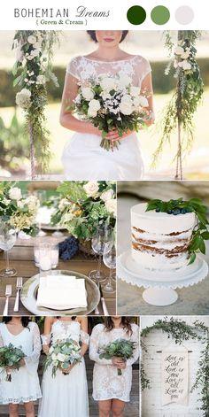 Greenery Minimalism Green and White Boho Wedding 2017