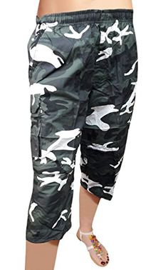 EyeCatch - Womens 2 in 1 Army Camouflage 3/4 Crop Capri Pants Trousers Shorts…