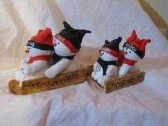 Custom polymer clay snowman family ornament.