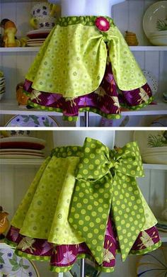 circle skirt, with shorter circle skirt on top Would make a great apron! Man, I need to figure out the circle skirt apron! Sewing Aprons, Sewing Clothes, Doll Clothes, Couture Bb, Sewing Crafts, Sewing Projects, Diy Clothing, Little Girl Dresses, Girls Dresses