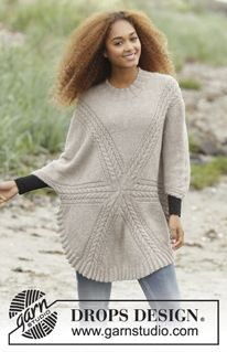 Free knitting patterns and crochet patterns by DROPS Design Drops Design, Sweater Knitting Patterns, Knit Patterns, Free Knitting, Finger Knitting, Knit Cowl, Knitted Poncho, Cozy Knit, Girls Sweaters