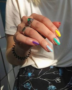 Colorful Nail Art Design ig _moon_nails_ nailart Warning These arent your basic manis.Even now that nail art is a major trend Ive just never wanted to pay the extra money to have the fancy stu Nails Yellow, Purple Nail, Pink Nails, Gel Nails, Acrylic Nails, Coffin Nails, Nail Polish, Pastel Nails, Nail Nail