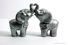 Silver Elephant Wedding Cake Toppers - Handmade Original Sculptures Ready to Ship