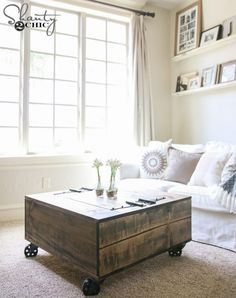 Diy storage coffee table tutorial shanty chic with square round side hairpin industrial pedestal farmhouse at Diy Storage Coffee Table, Coffee Table Design, Diy Table, Coffee Table Casters, Coffee Table Ottoman Diy, Diy Coffee Table Plans, Diy Ottoman, Table Tray, Woodworking Furniture Plans